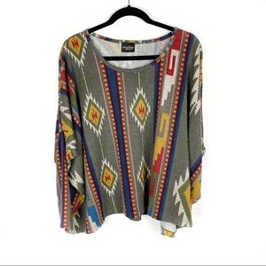 Audrey 3+1 Western Aztec Style Dolman Top Small